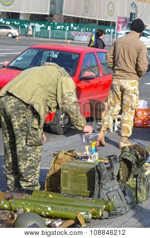 KIEV , UKRAINE - NOV 1, 2015. Flea market in downtown with civil war ,military and ukrainian patriotic items. November 1, 2015 in Kiev, Ukraine