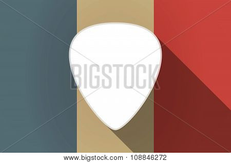 Long Shadow Flag Of France Vector Icon With A Plectrum