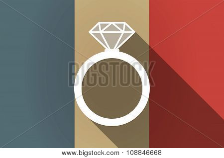 Long Shadow Flag Of France Vector Icon With An Engagement Ring