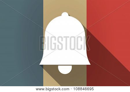 Long Shadow Flag Of France Vector Icon With A Bell