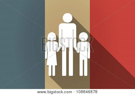 Long Shadow Flag Of France Vector Icon With A Male Single Parent Family Pictogram