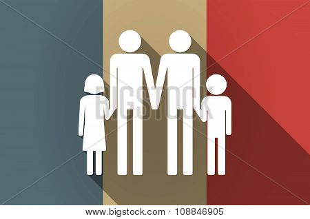 Long Shadow Flag Of France Vector Icon With A Gay Parents  Family Pictogram