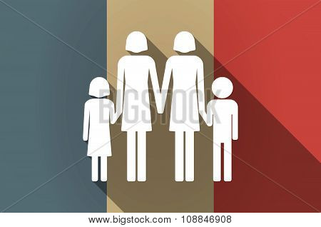 Long Shadow Flag Of France Vector Icon With A Lesbian Parents Family Pictogram