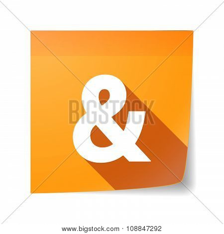 Long Shadow Vector Sticky Note Icon With An Ampersand