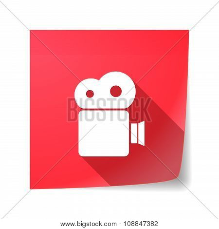 Long Shadow Vector Sticky Note Icon With A Film Camera