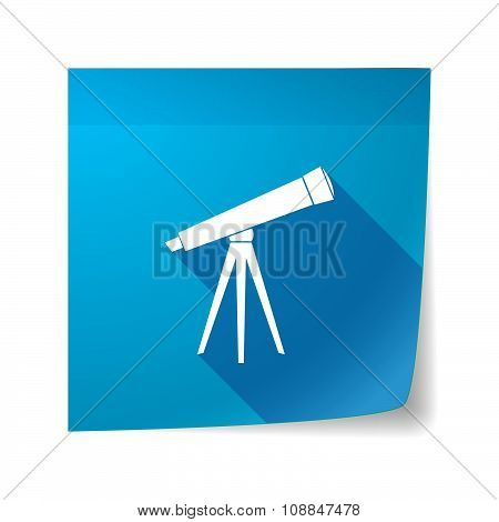 Long Shadow Vector Sticky Note Icon With A Telescope