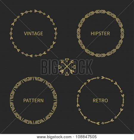 Set of gold hand drawn ethnic arrows frame. Doodles style. Tribal native aztec vector illustration.