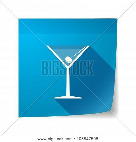 Long Shadow Vector Sticky Note Icon With A Cocktail Glass