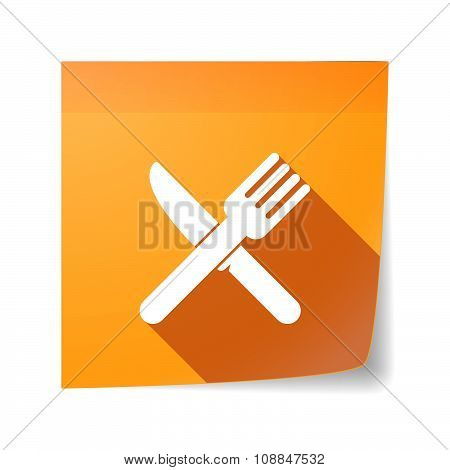 Long Shadow Vector Sticky Note Icon With A Knife And A Fork