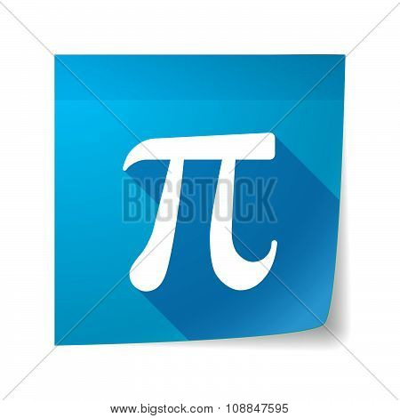 Long Shadow Vector Sticky Note Icon With The Number Pi Symbol