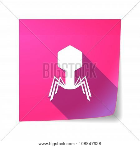Long Shadow Vector Sticky Note Icon With A Virus