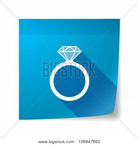 Long Shadow Vector Sticky Note Icon With An Engagement Ring