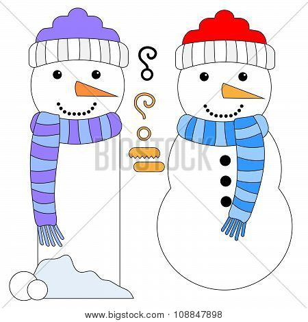 Snowman and Snowman Tag or Bookmark