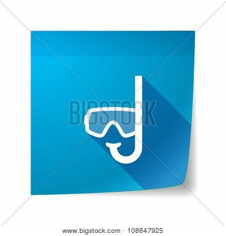 Long Shadow Vector Sticky Note Icon With A Diving Goggles