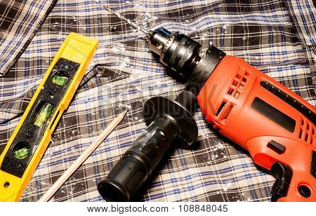 Electric Drill And Level Measuring