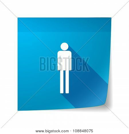 Long Shadow Vector Sticky Note Icon With A Male Pictogram
