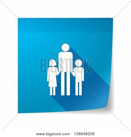 Long Shadow Vector Sticky Note Icon With A Male Single Parent Family Pictogram