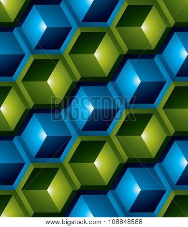 Futuristic Continuous Multicolored Pattern, Illusive Motif Abstract Background, 3D Geometric