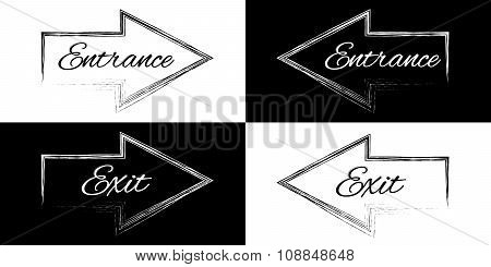 Entrance And Exit On A Black And White Arrows