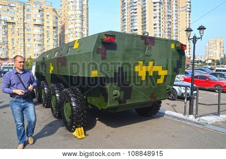 KIEV, UKRAINE - September 23, 2015:Improvised armored fighting vehicle BARAN for Civil War.