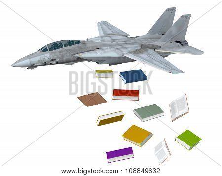 Warplane Launching Books Instead Bombs