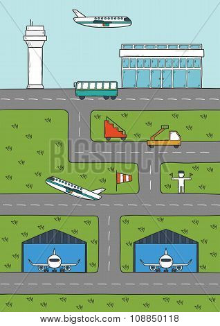Vector illustration on airport theme