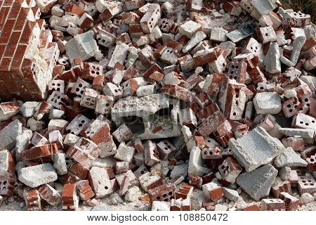 Huge Pile Of Discarded Broken Bricks At Demolition Site