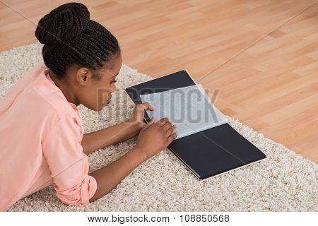 Woman Looking Blank Photo Album