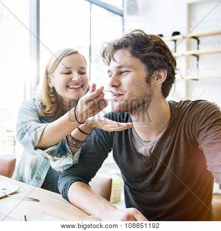 Couple Dating Dessert Restaurant Eating Concept