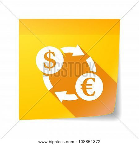 Long Shadow Vector Sticky Note Icon With A Dollar Euro Exchange Sign