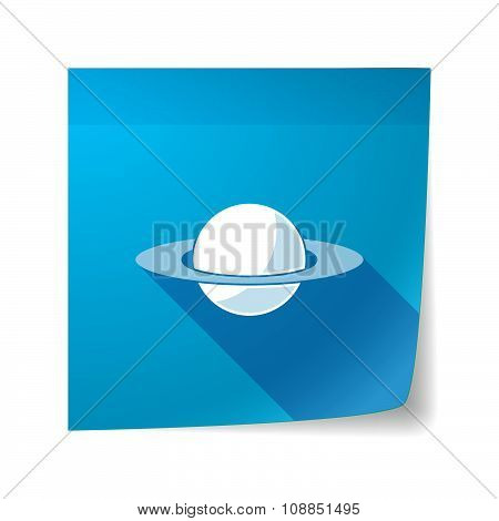 Long Shadow Vector Sticky Note Icon With The Planet Saturn