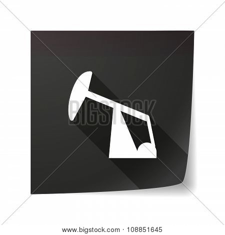 Long Shadow Vector Sticky Note Icon With A Horsehead Pump