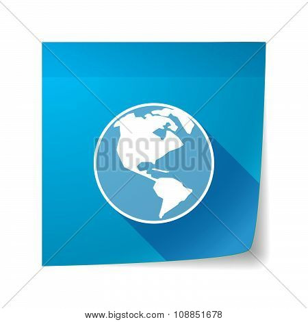 Long Shadow Vector Sticky Note Icon With An America Region World Globe