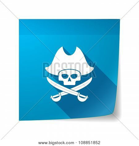Long Shadow Vector Sticky Note Icon With A Pirate Skull