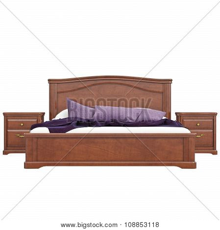 Bed with bedside tables, front view