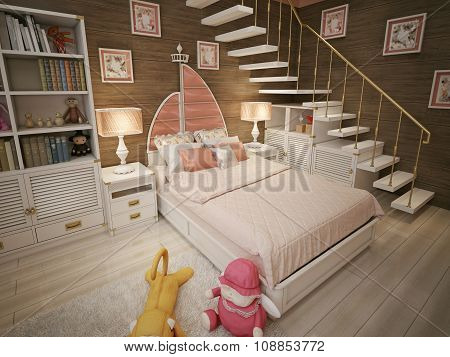 Children's Room For A Girl In Pink