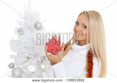 Young  Woman In Winter Clothes With Snowflake.