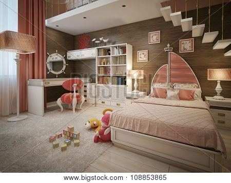 Luxury Children's Room In The Art Nouveau Style