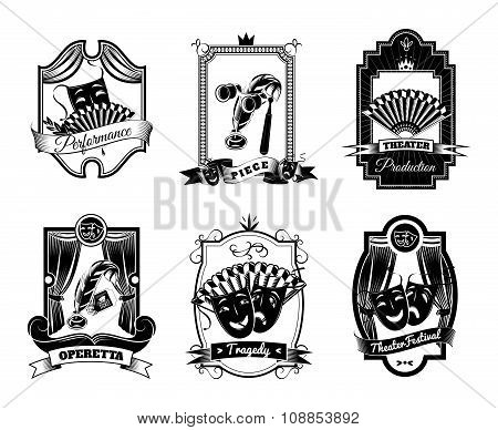 Theatre Black White Emblems Set