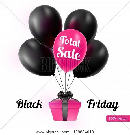 Vector illustration. Black Friday. A bunch of black balloons on