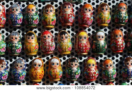 Colorful Russian Wooden Dolls As Fridge Magnet