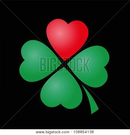 Cloverleaf Heart Four Leaved Luck