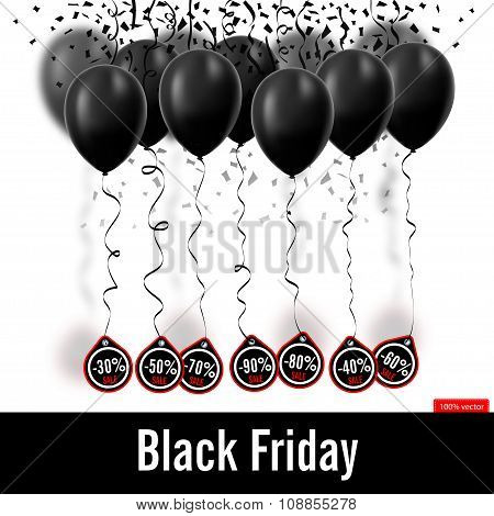 Vector illustration. Black Friday. Black balloons isolated on wh