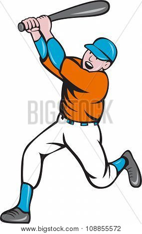 American Baseball Player Batting Homer Cartoon