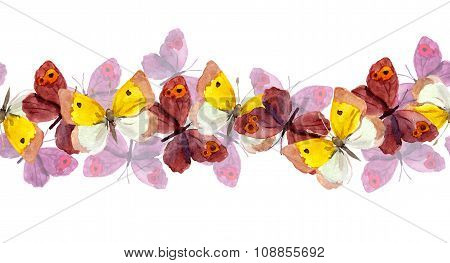 Seamless repeated border stripe with bright multicolored butterfly