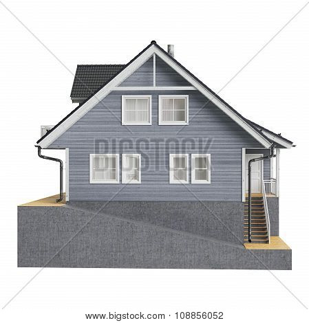 House mansion wooden facade, front view