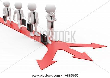 3D Human queued deciding which direction to take