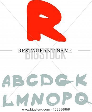 Vector abstract logo design with hand drawn letters.