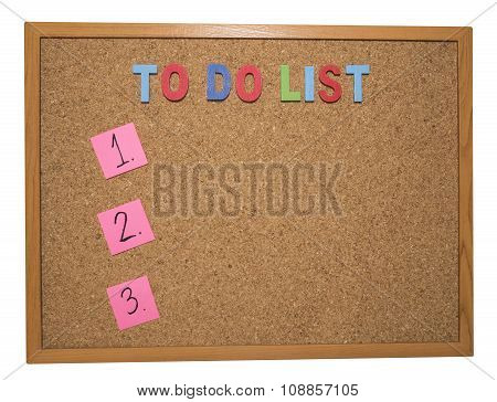 To Do List On Cork Board