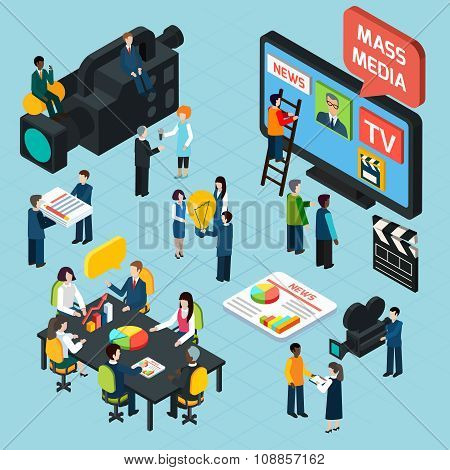 Mass Media Isometric Concept